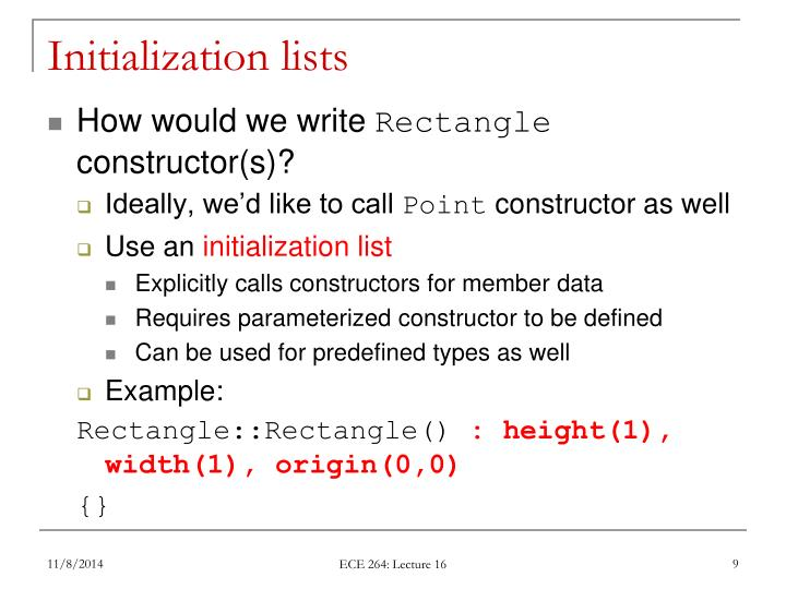 Initialization lists