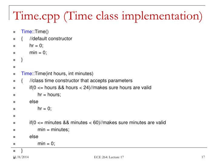Time.cpp (Time class implementation)