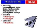 materiais diretos md