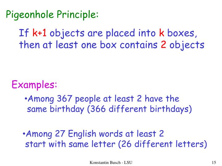 Pigeonhole Principle: