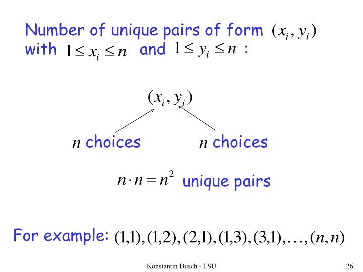 Number of unique pairs of form