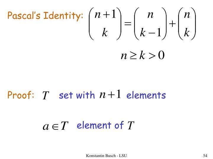 Pascal's Identity:
