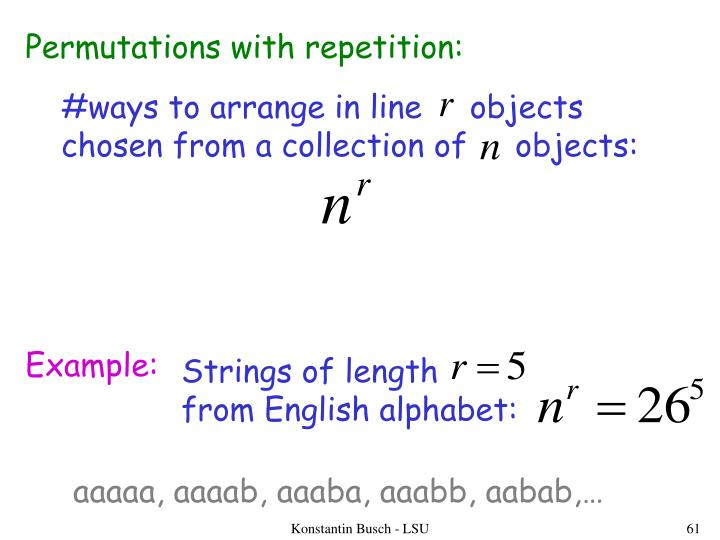 Permutations with repetition:
