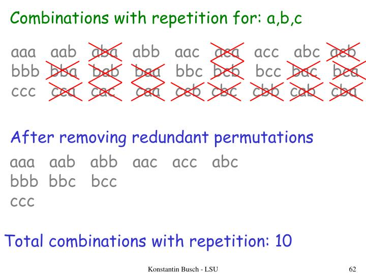 Combinations with repetition for: a,b,c