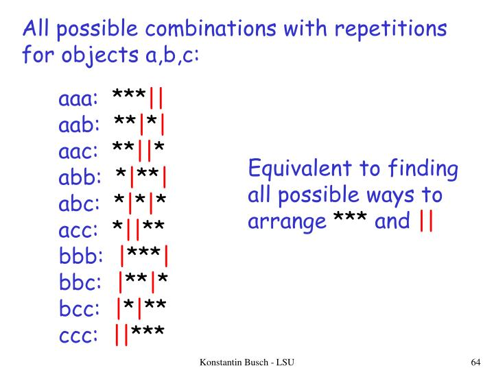 All possible combinations with repetitions
