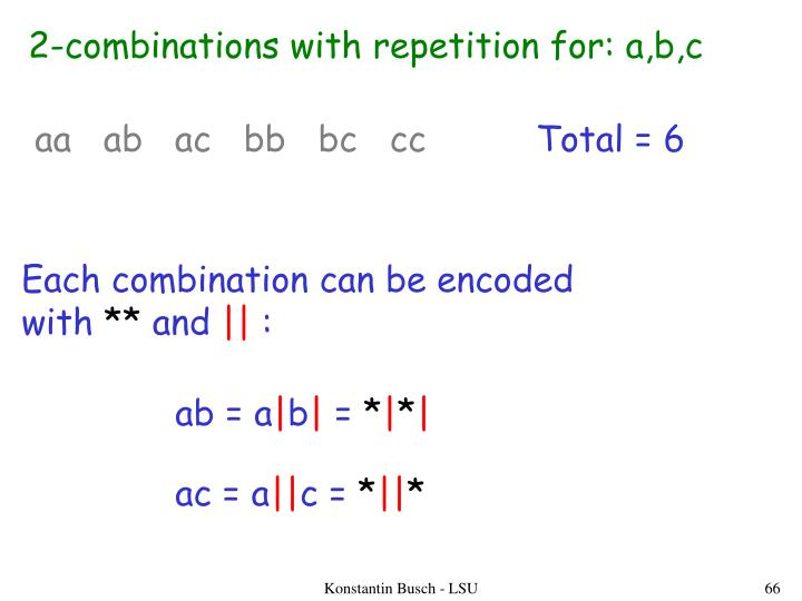 2-combinations with repetition for: a,b,c