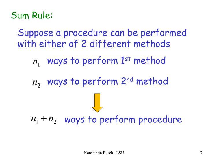 Sum Rule: