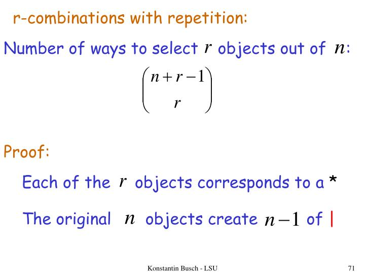 r-combinations with repetition: