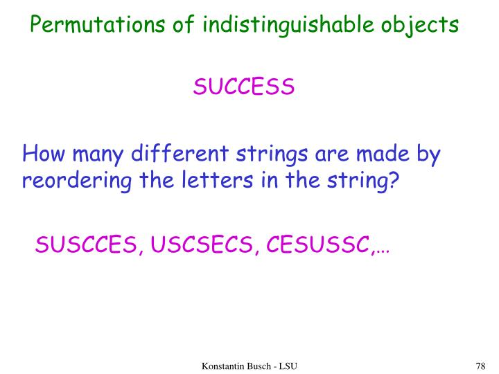 Permutations of indistinguishable objects