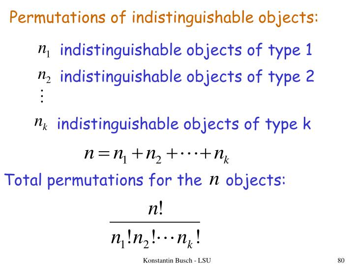 Permutations of indistinguishable objects: