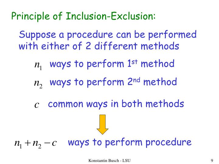 Principle of Inclusion-Exclusion: