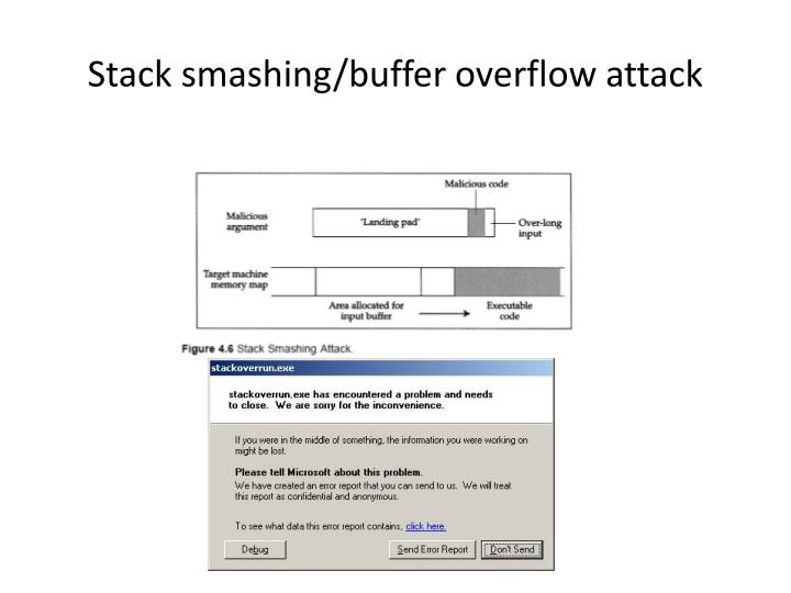 Stack smashing/buffer overflow attack