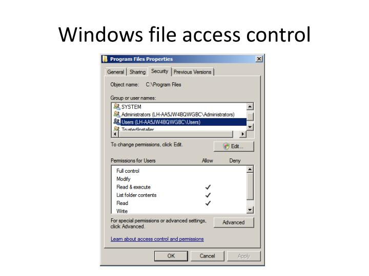 Windows file access control