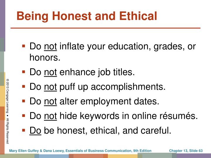 Being Honest and Ethical