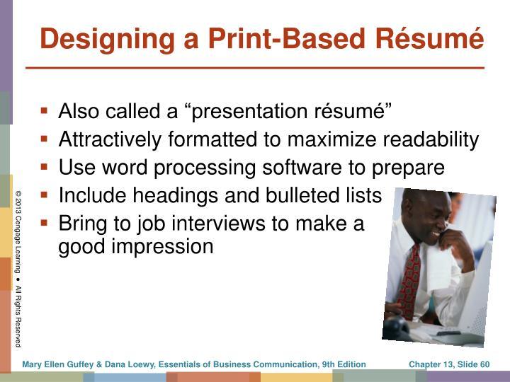Designing a Print-Based Résumé