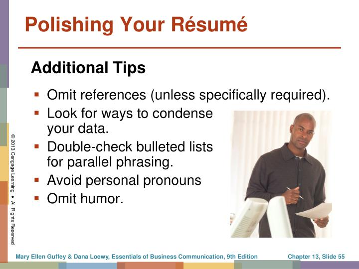Omit references (unless specifically required).