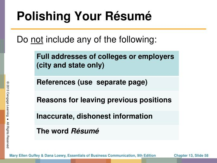 Polishing Your Résumé
