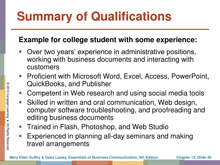 Summary of Qualifications