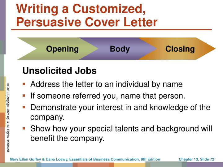 Writing a Customized, Persuasive Cover Letter