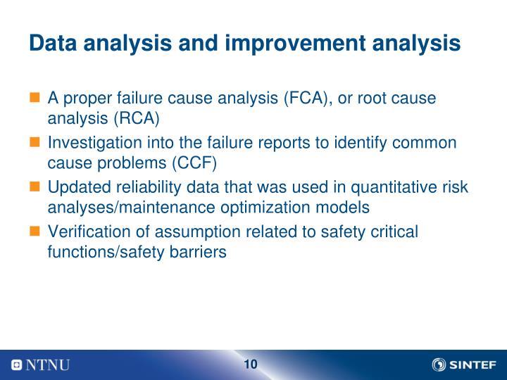 Data analysis and improvement analysis