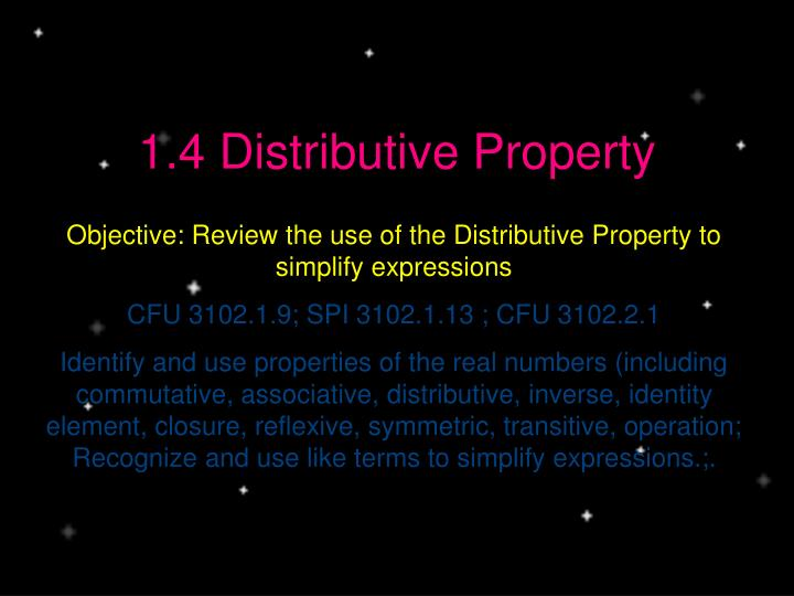 1 4 distributive property