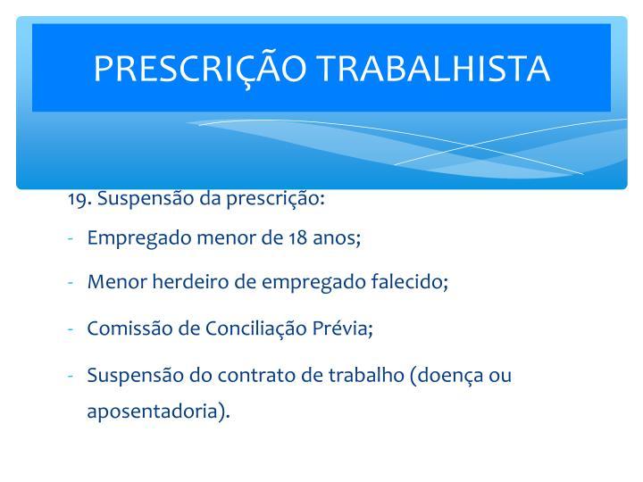 PRESCRIÇÃO TRABALHISTA