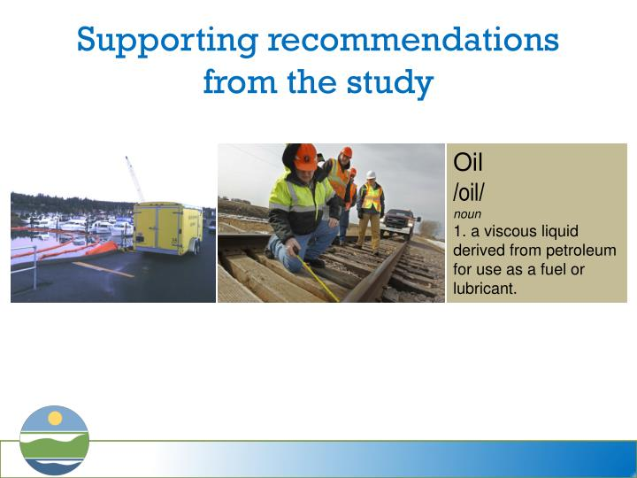 Supporting recommendations from the study