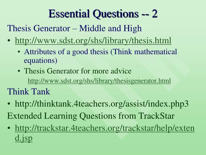 Essential Questions -- 2