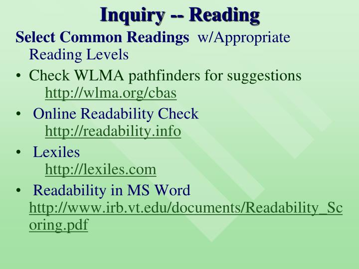 Inquiry -- Reading