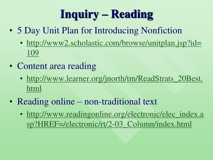 Inquiry – Reading