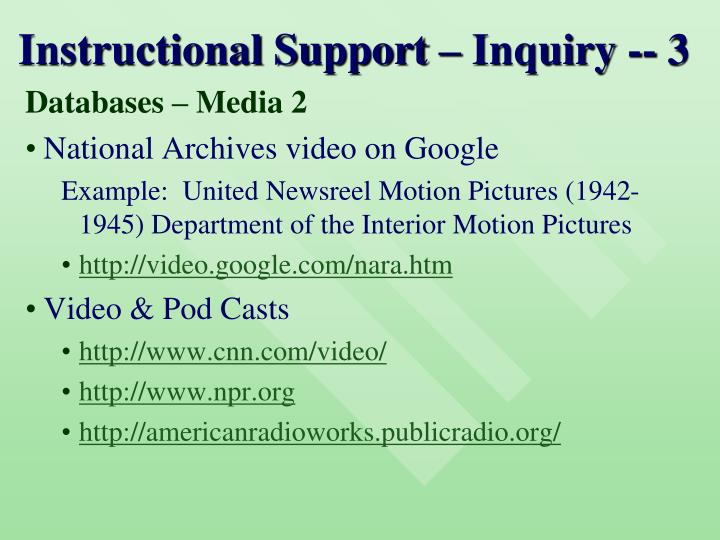 Instructional Support – Inquiry -- 3