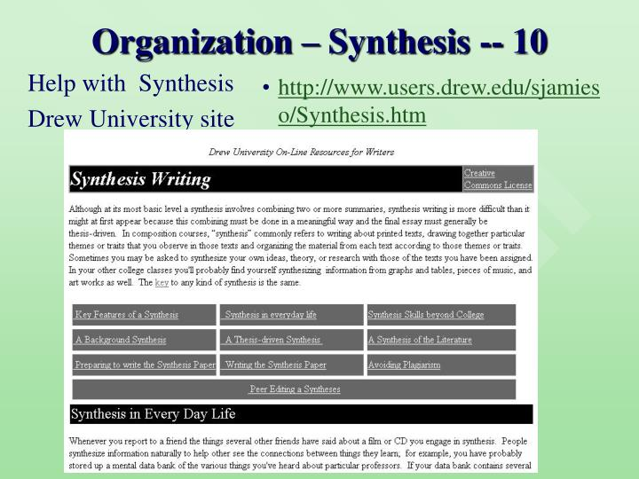 Organization – Synthesis -- 10