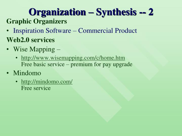 Organization – Synthesis -- 2