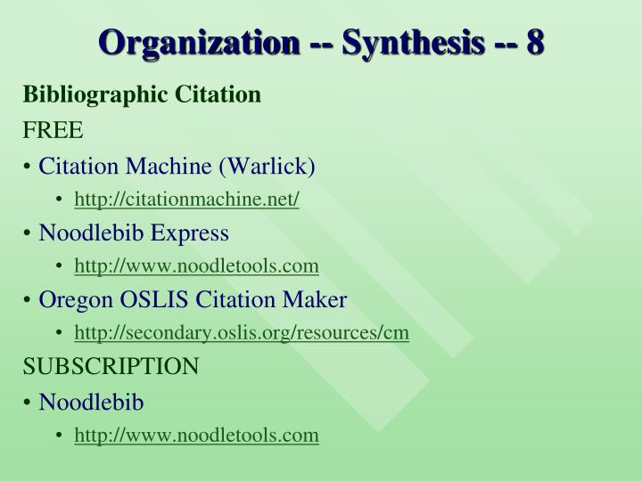 Organization -- Synthesis -- 8