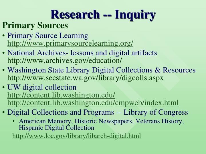 Research -- Inquiry