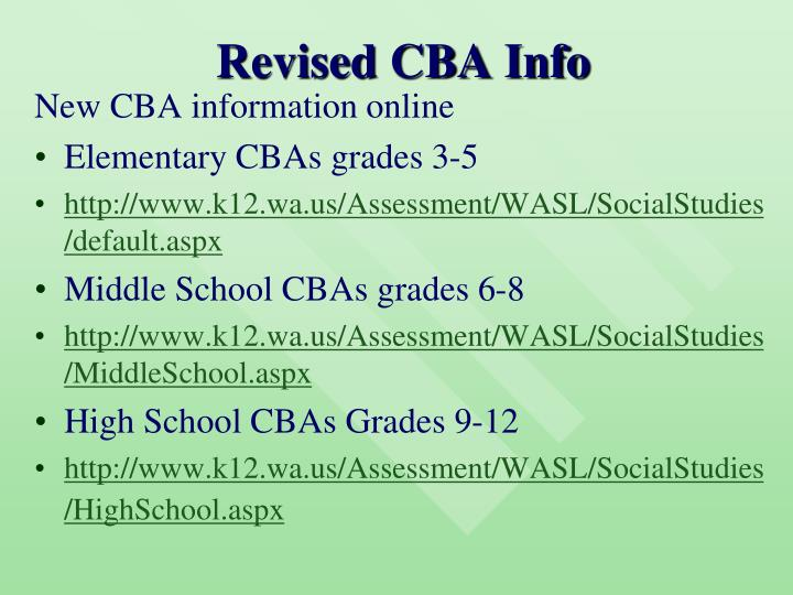 Revised cba info
