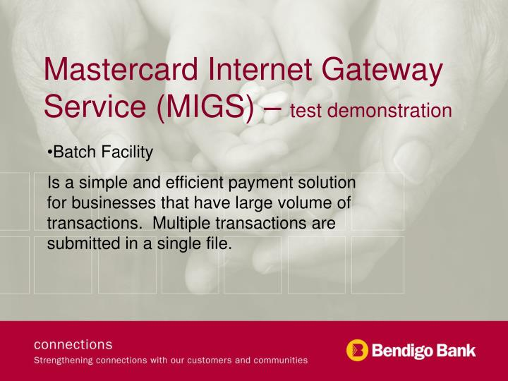 Mastercard internet gateway service migs test demonstration