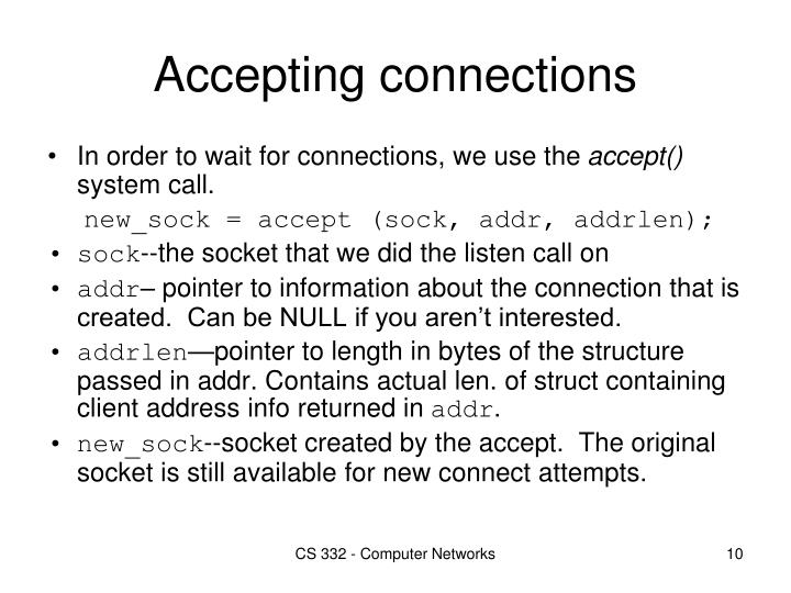 Accepting connections