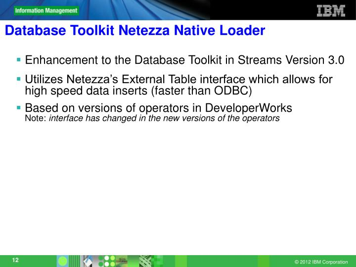 Database Toolkit Netezza Native Loader