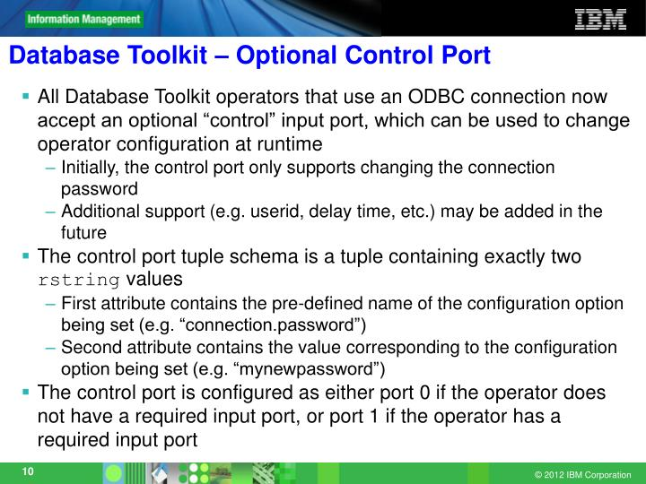 Database Toolkit – Optional Control Port