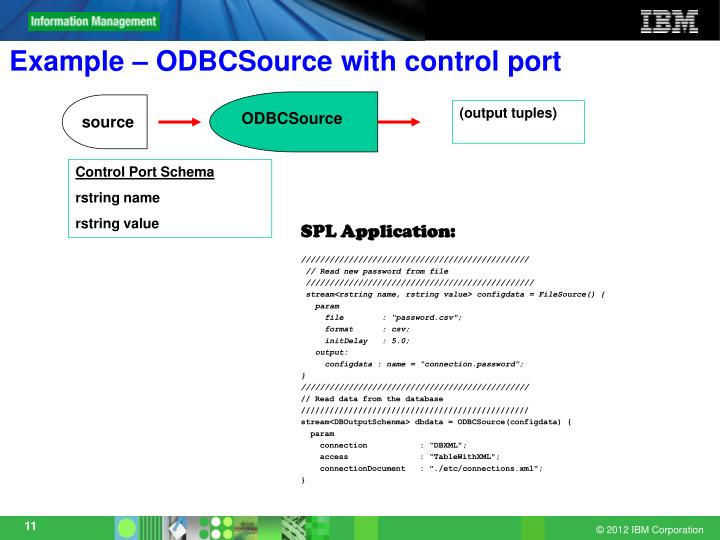Example – ODBCSource with control port