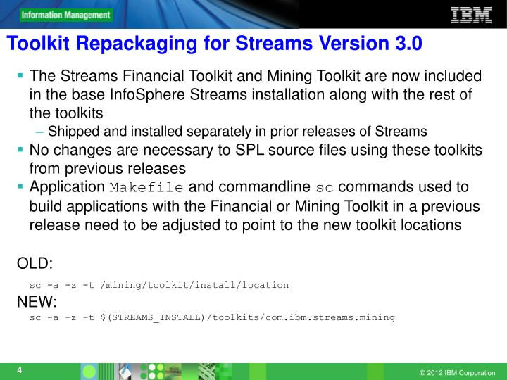 Toolkit Repackaging for Streams Version 3.0