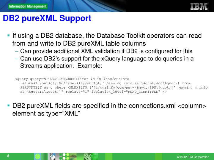 DB2 pureXML Support