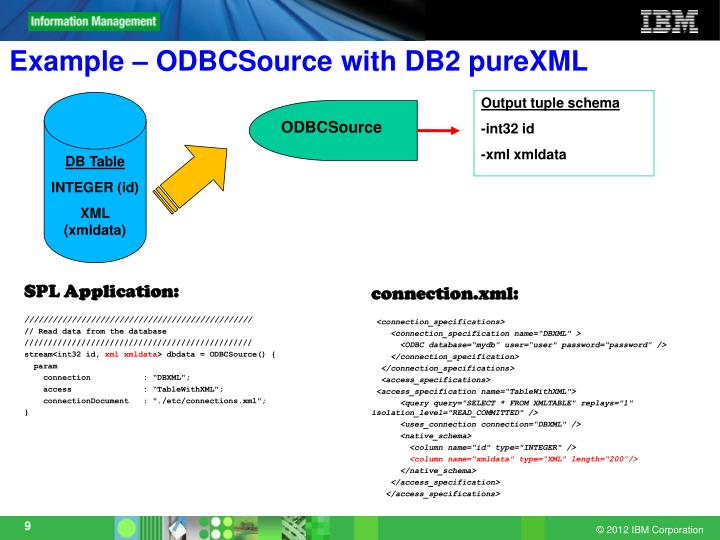 Example – ODBCSource with DB2 pureXML