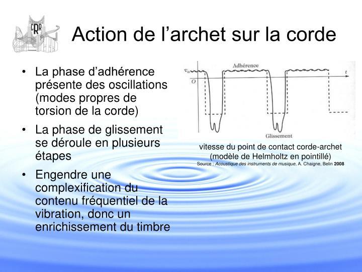 La phase d'adhérence présente des oscillations (modes propres de torsion de la corde)