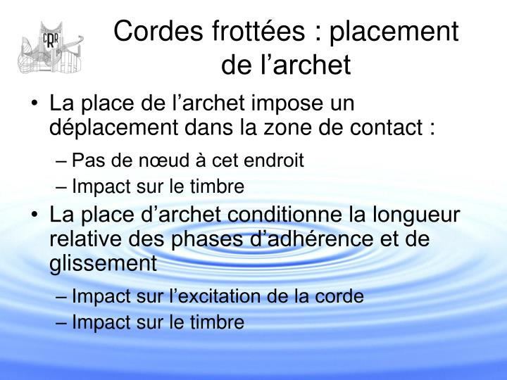 Cordes frottées : placement de l'archet