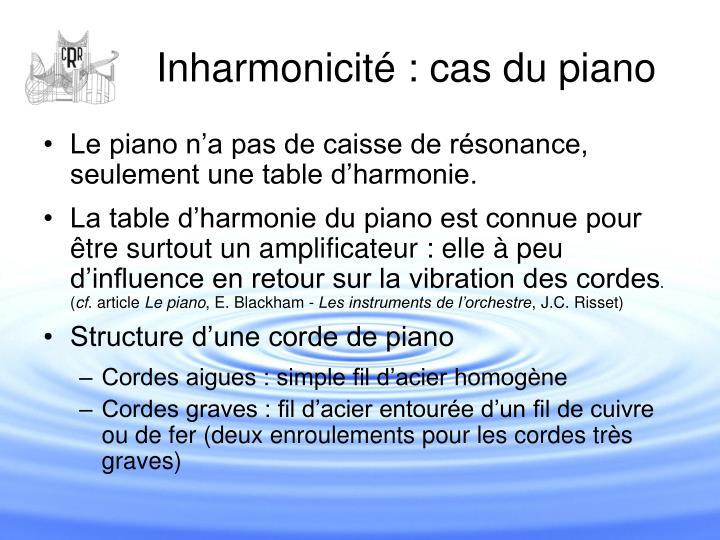 Inharmonicité : cas du piano