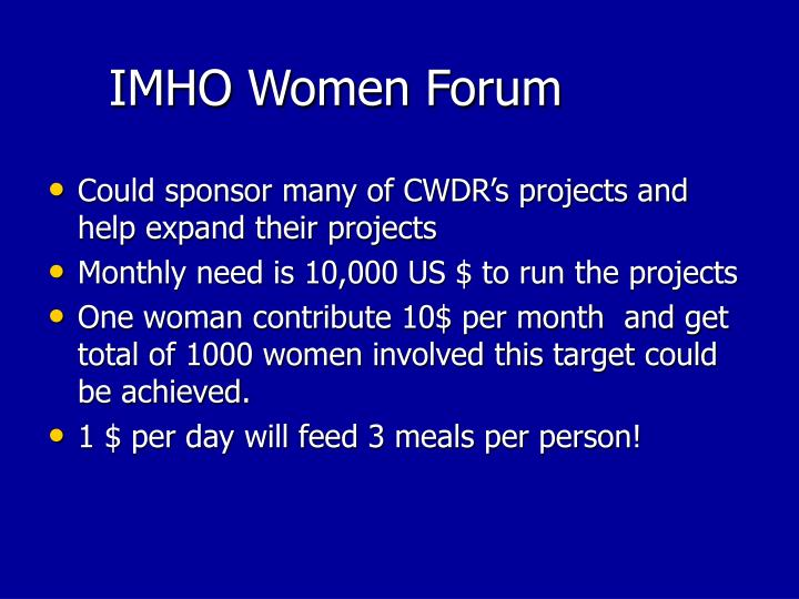 IMHO Women Forum