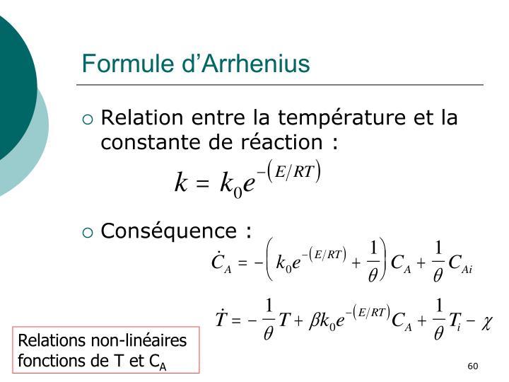 Formule d'Arrhenius