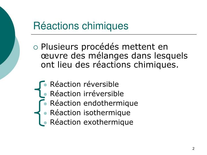 R actions chimiques
